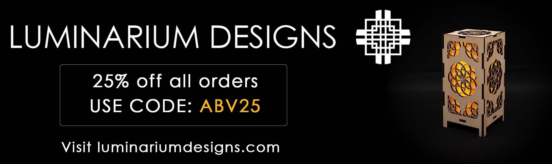 https://luminariumdesigns.com 25% off offer code ABV25
