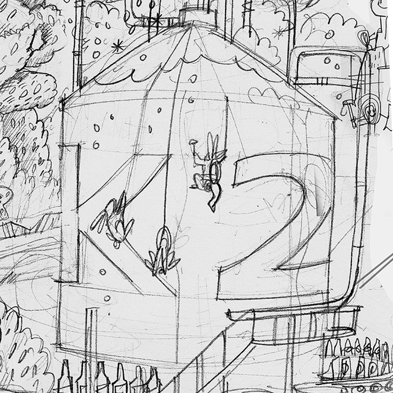 K2 imagined by Dermot Flynn as the new brewery starts to take shape.