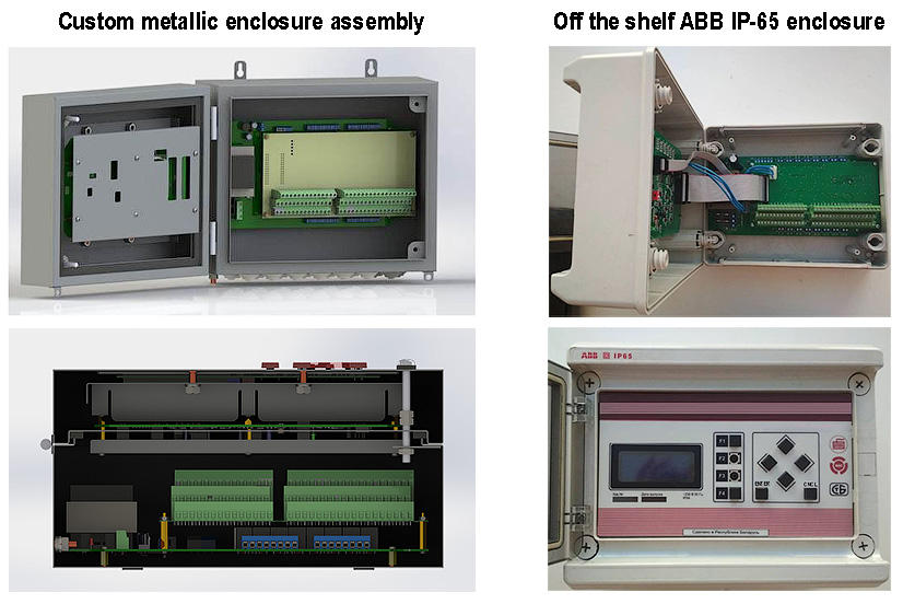 IIoT hot water monitoring system assembly showing custom metallic enclosure and off-shelf ABB IP-65 enclosure - Electronics development