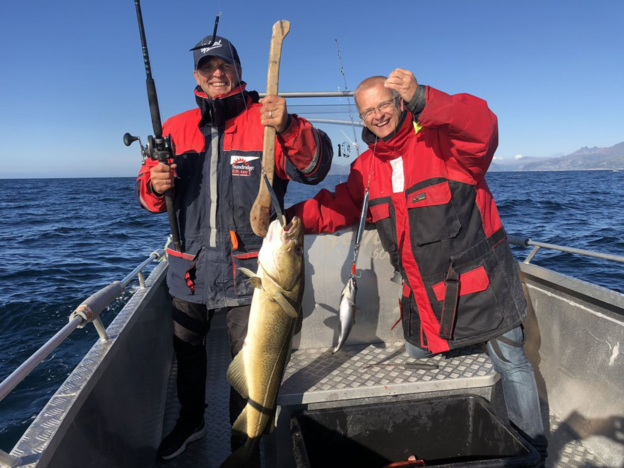Glade venner på fisketur