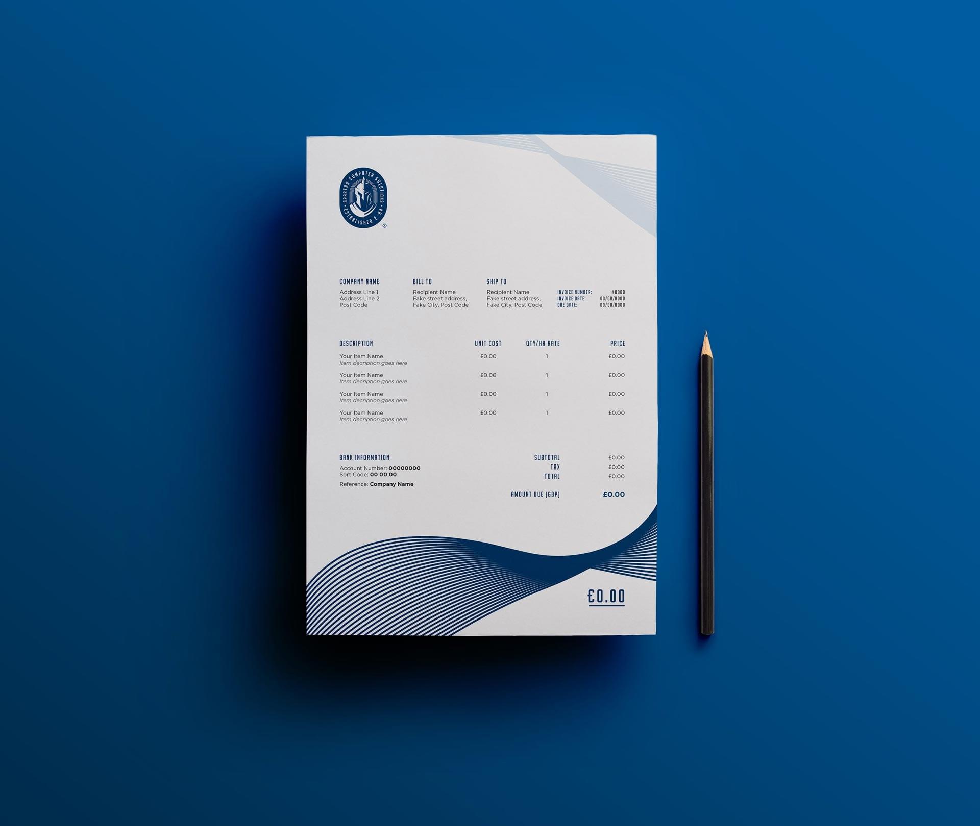 Spartan Computer Solutions Stationery design mockup - letterhead designs