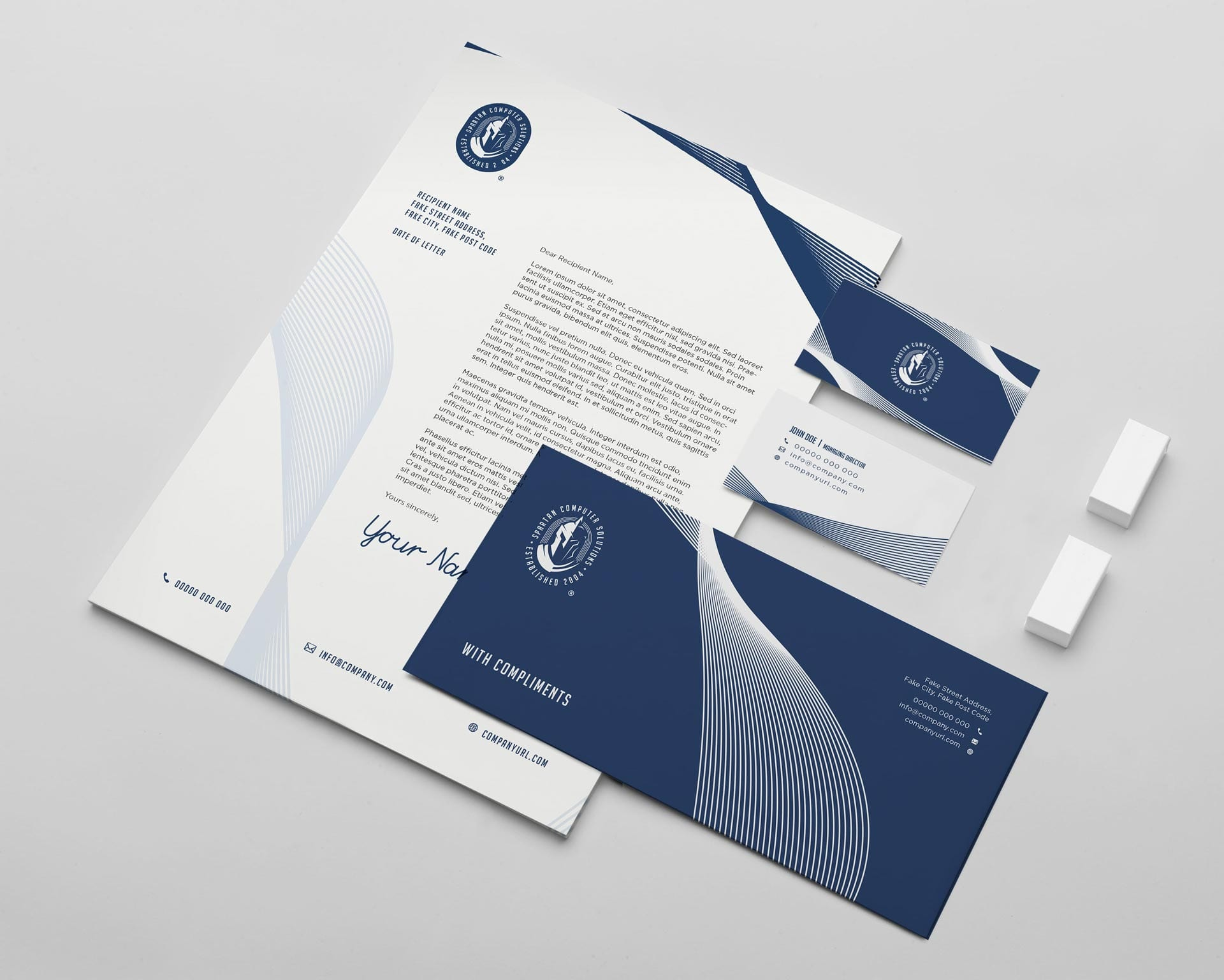 Spartan Computer Solutions Staionery Designs - Invoice, Letterhead, Compliments slip, business cards front and back