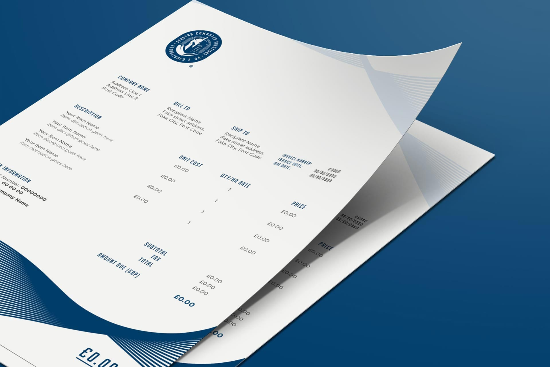 Spartan Computer Solutions Stationery design mockup - invoice designs