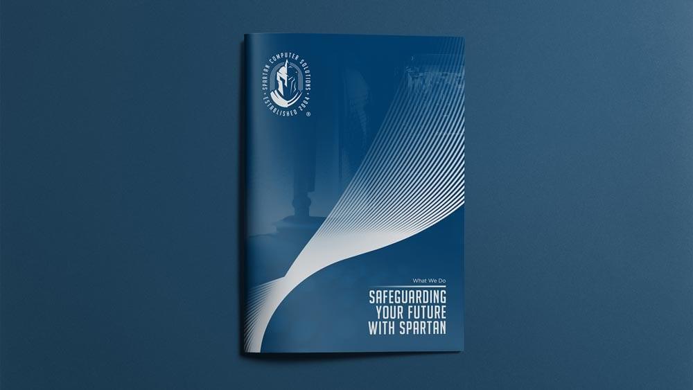 Spartan Computer Solutions editorial design, brochure book - safeguarding your future with spartan