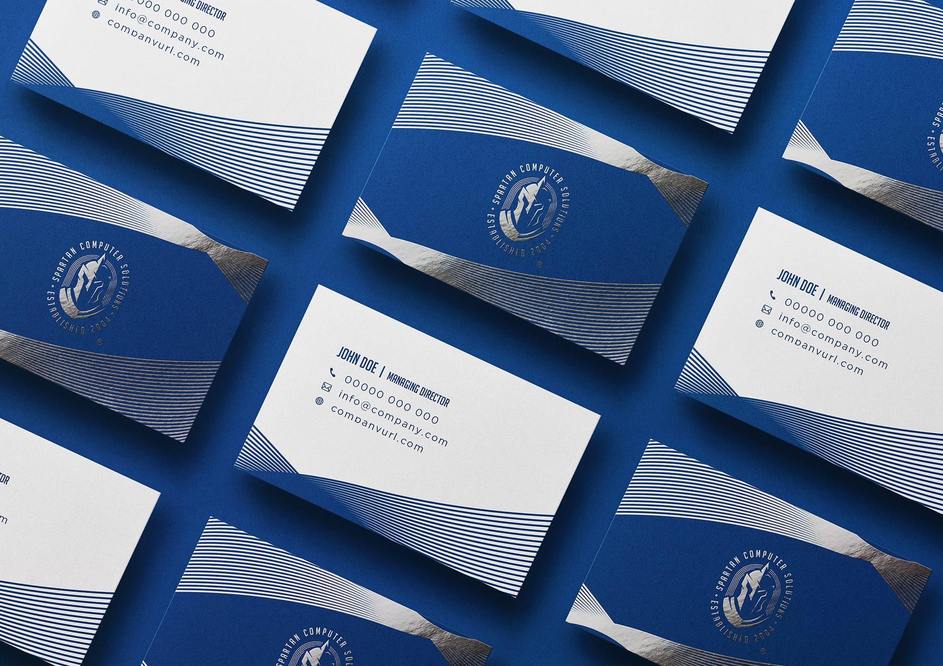 Spartan Computer Solutions Shiny Matte Business Card Mockup Design