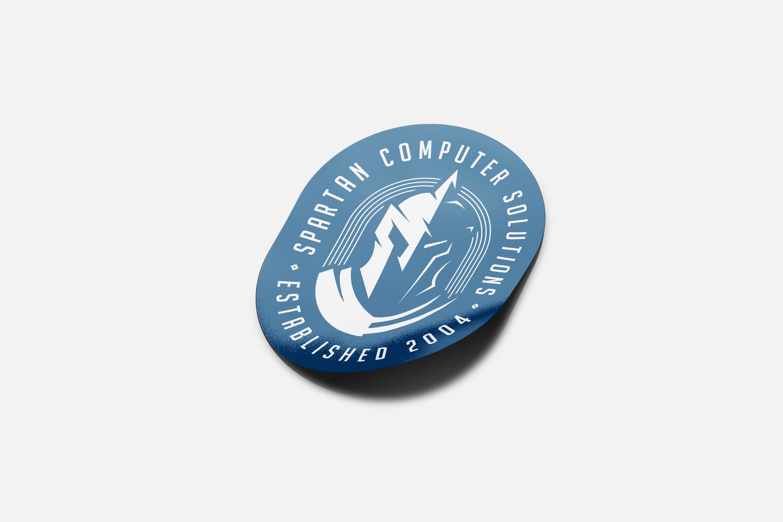 Spartan Computer Solutions shiny sticker design mockup