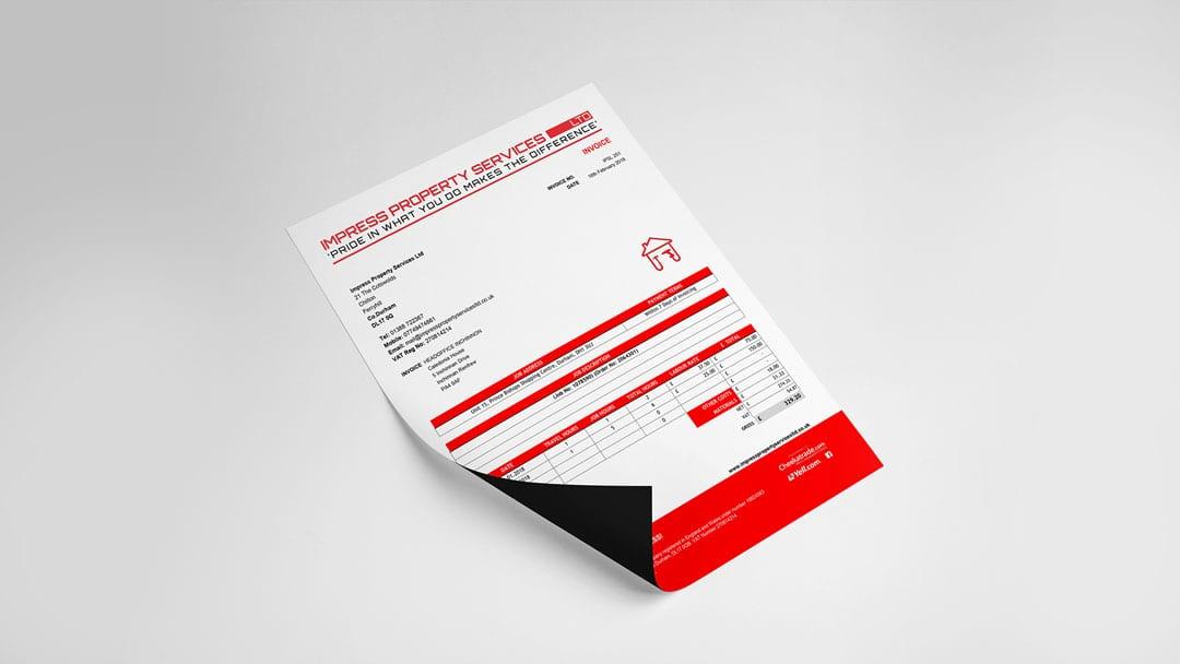 Impress Property Services Limited stationery designs mockups - letterhead, invoice