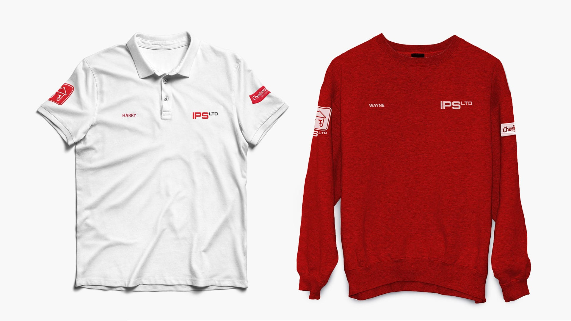 Impress Property Services Limited staff uniforms design prints red and white