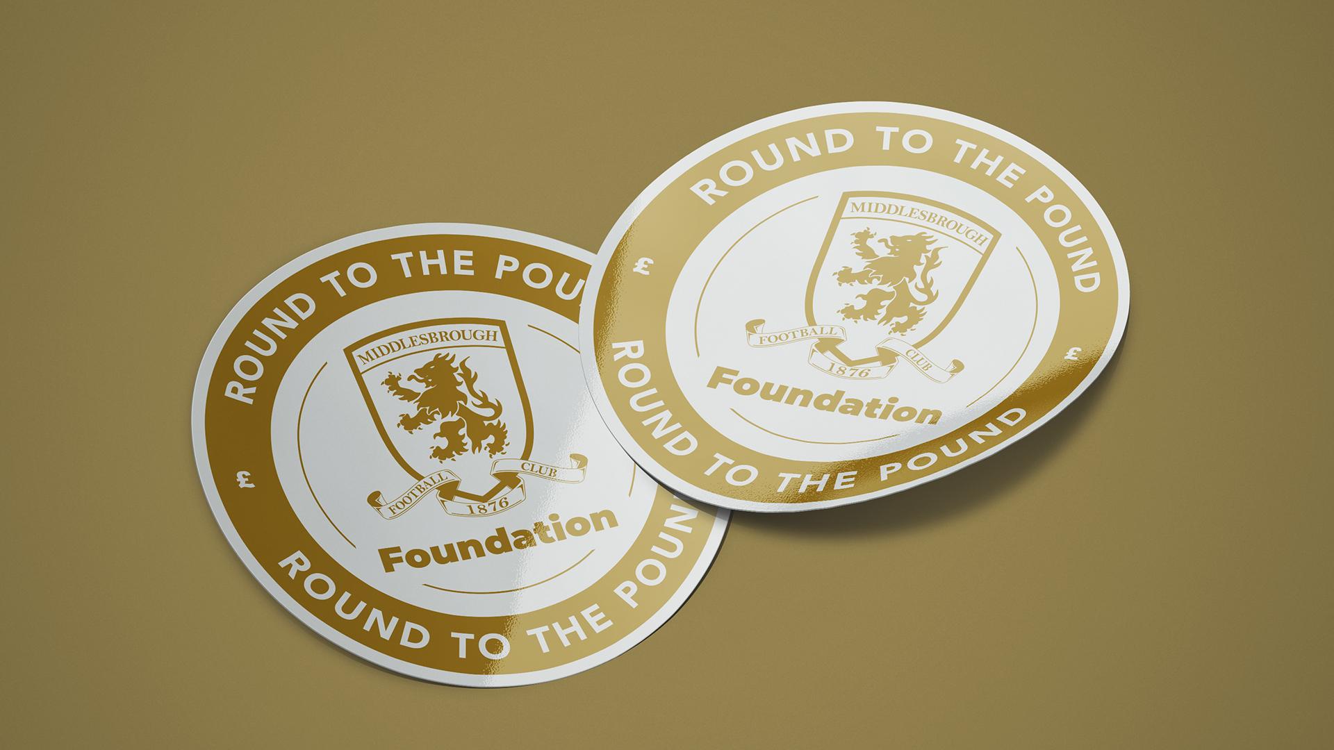 Round to the pound logo design printed stickers for  - Riverside Stadium #boro #uptheboro