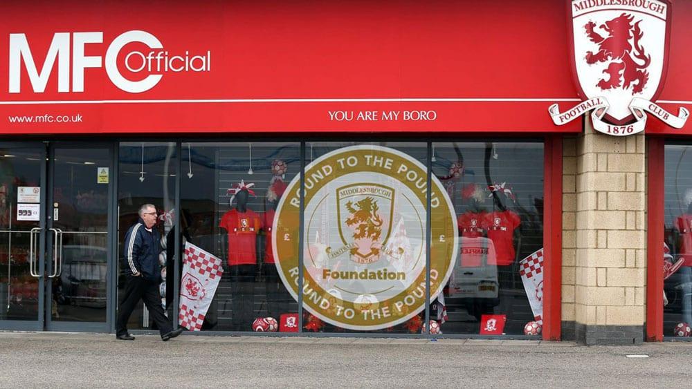 Round to the pound logo design window vinyl graphic print MFC, Middlesbrough Football Club Store front -  - Riverside Stadium #boro #uptheboro