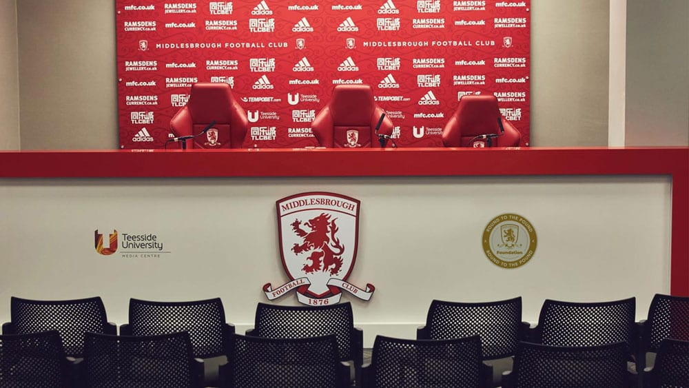 Round to the pound logo design printed in Middlesbrough Football Club conference room - Riverside Stadium #boro #uptheboro