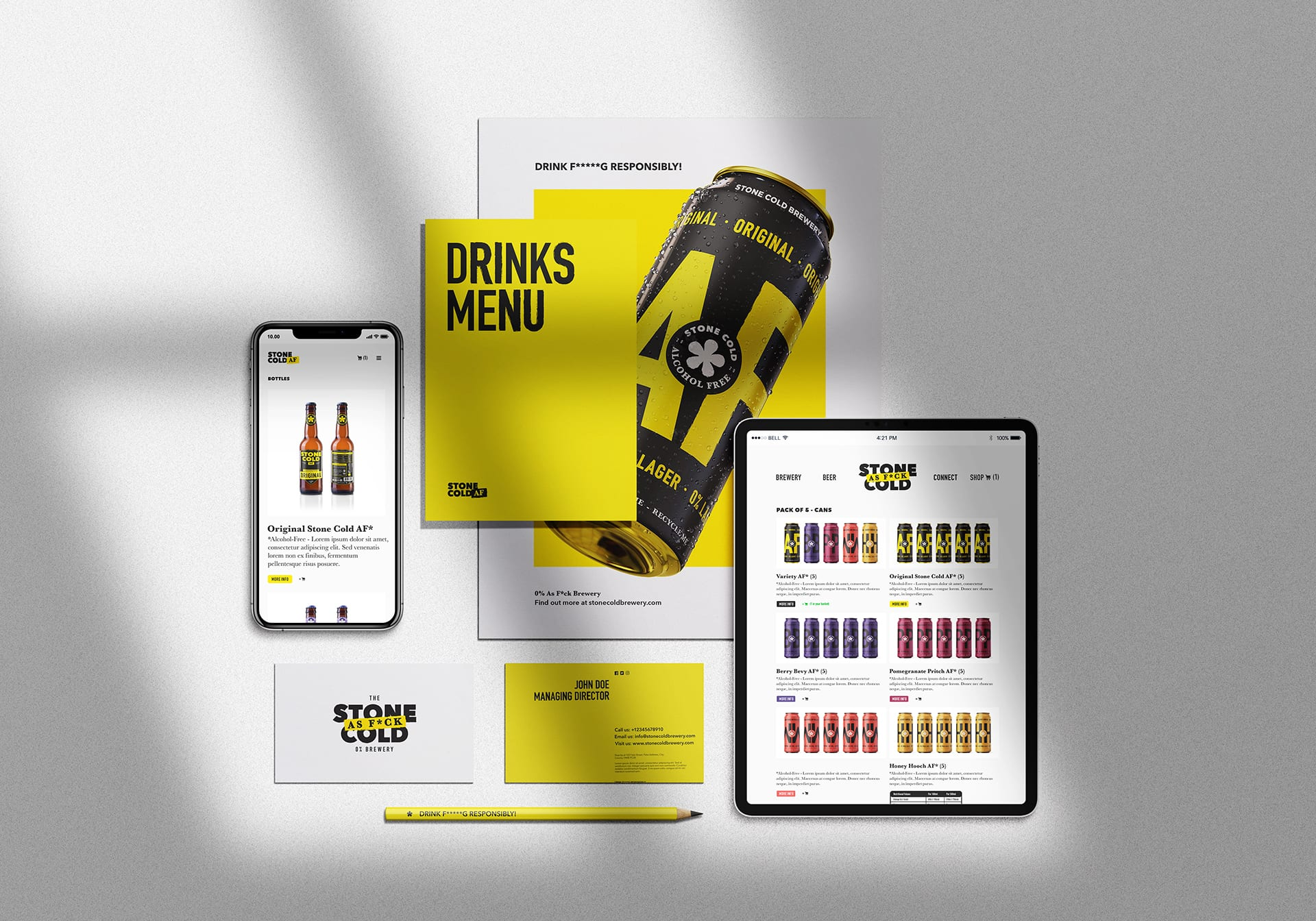 Stone Cold Alcohol Free Brewery Primary Logo Web Design + Drinks Menu + Poster + Business Cards + Pencil
