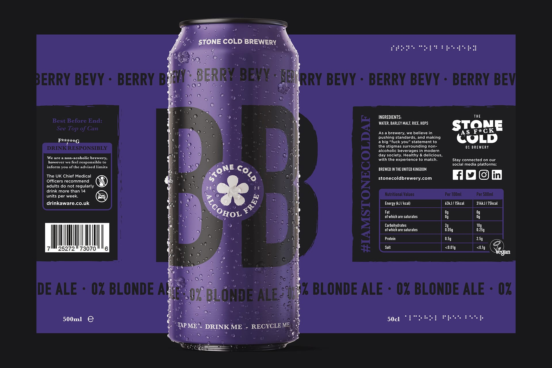Stone Cold Alcohol Free Beer Can + Label - Berry Bevy 0% Blonde Ale