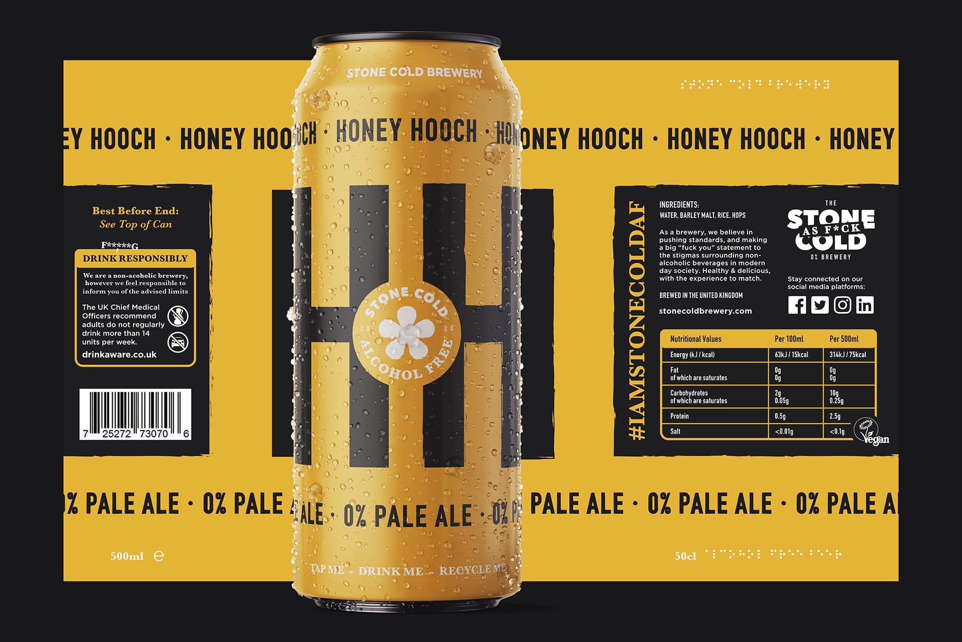 Stone Cold Alcohol Free Beer Can + Label - Honey Hooch 0% Pale Ale