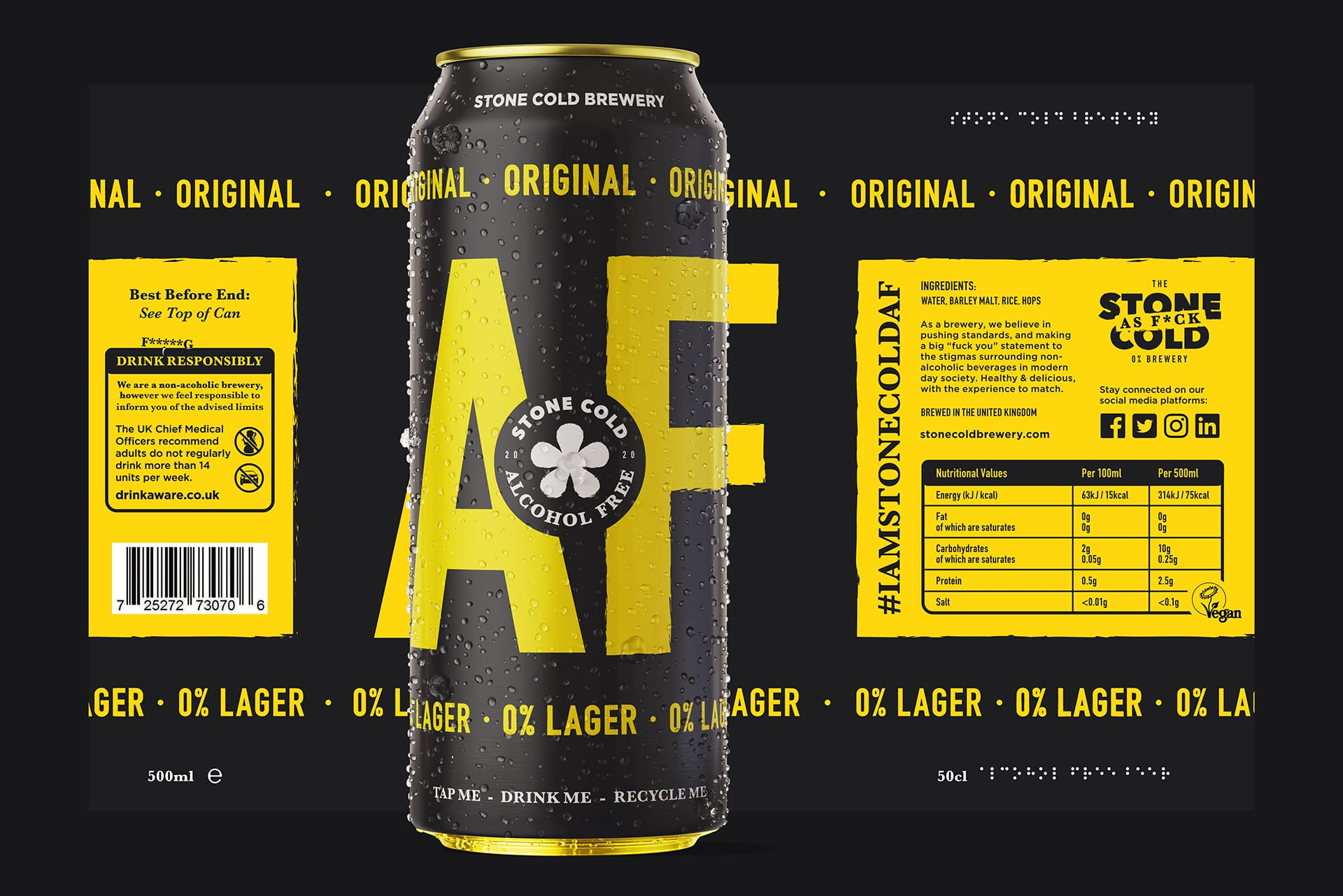 Stone Cold Alcohol Free Beer Can + Label - Original 0% Lager