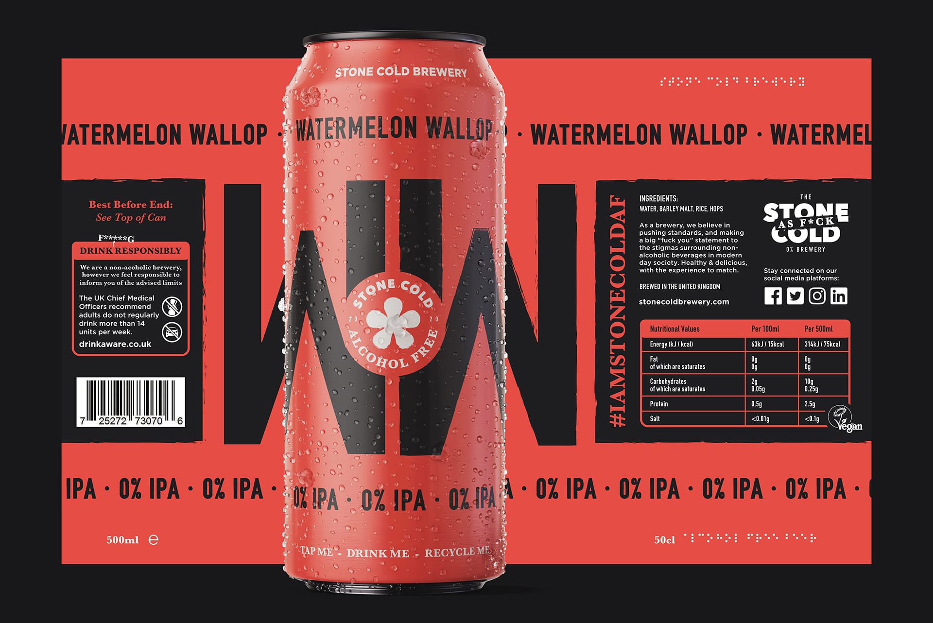 Stone Cold Alcohol Free Beer Can + Label - Watermelon Wallop 0% IPA