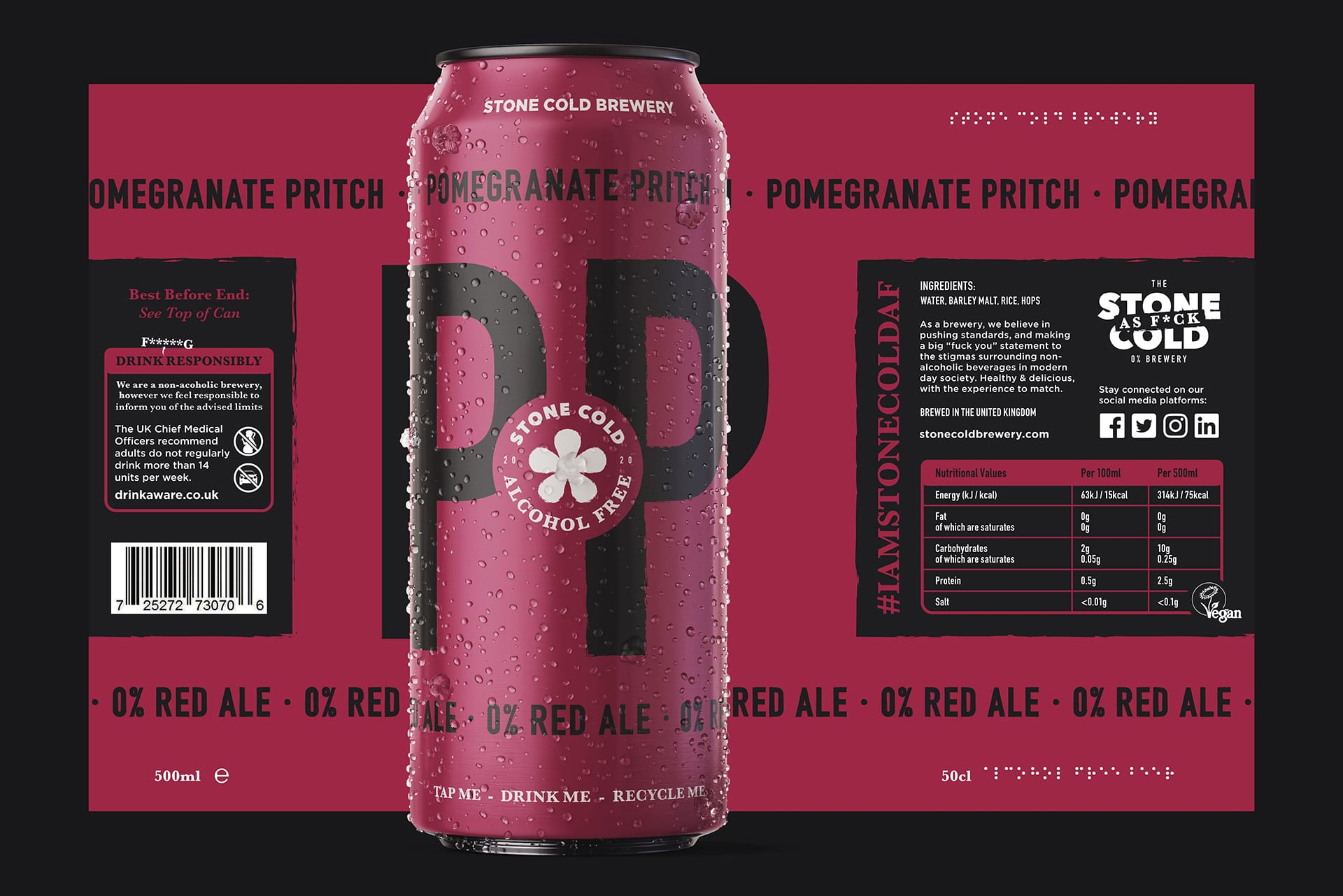 Stone Cold Alcohol Free Beer Can + Label - Pomegranate Pritch 0% Red Ale