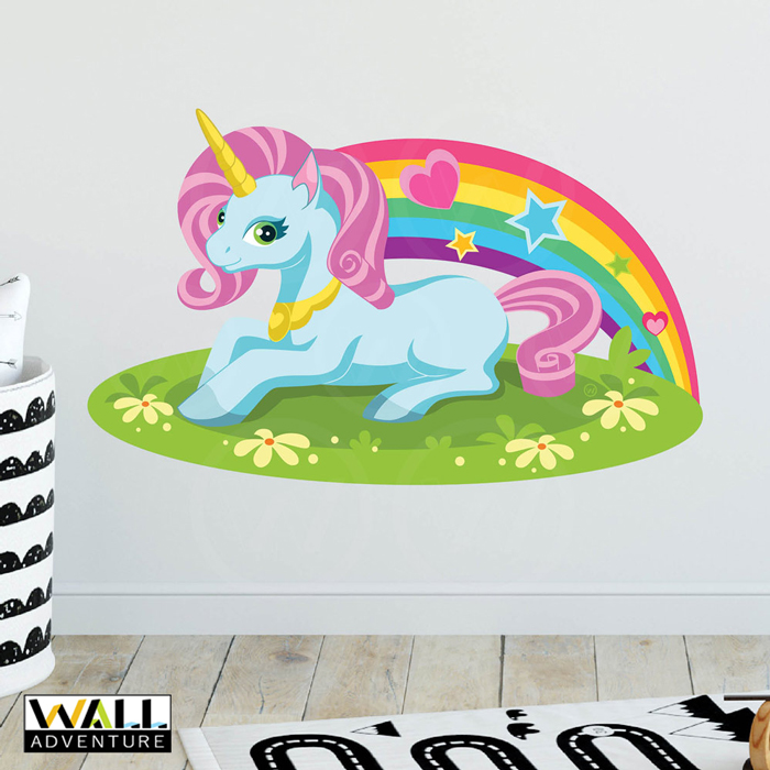 Unicorn, Rainbow, Heart, Stars, Fabric Wall Decal