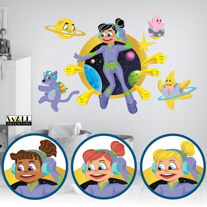 Space Girl, Alien, Stars, Planets, Activity coloring books, Fabric Wall Decal