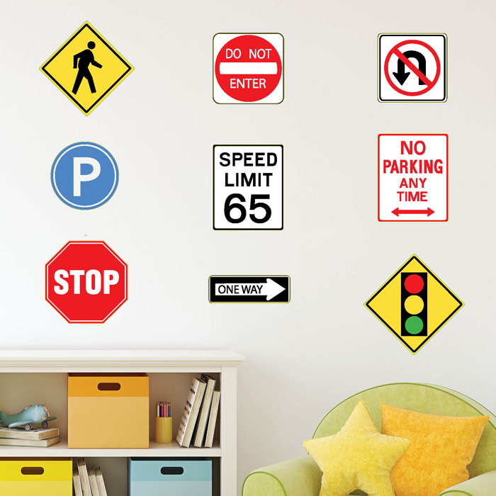 Street Signs, Stop sign, parking sign, no u-turn, one way, walking sign, Fabric Wall Decal