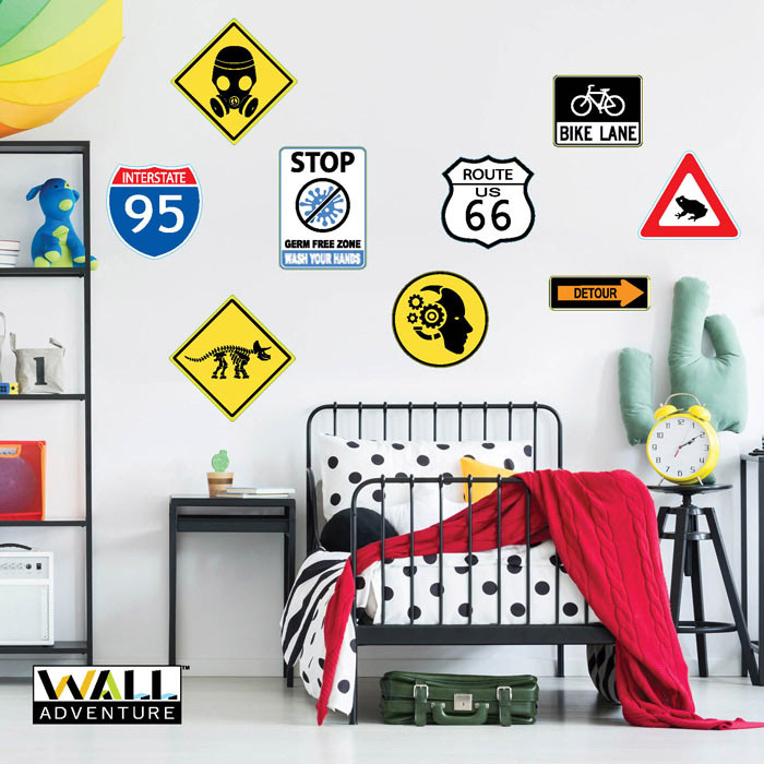 Street Signs, Hand Washing sign, Bike Lane sign, Detour, Hwy 95 Sign, Route 66 sign, Frog Crossing sign, Gas Mask Sign, Dinosaur Crossing Sign Fabric Wall Decal