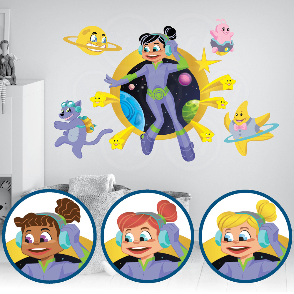 Space Girl, Alien, Stars, Planets, Kids activity coloring books, Fabric Wall Decal