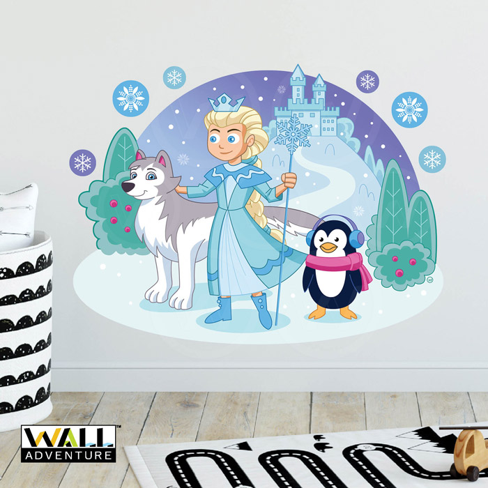 Princess, Castle, Dog, Husky, Penguin, Frozen inspired, Fabric Wall Decal