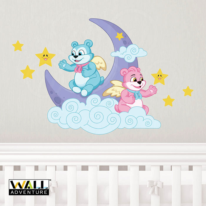 Bear, Angel, Moon, Stars, Cloud, Fabric Wall Decal