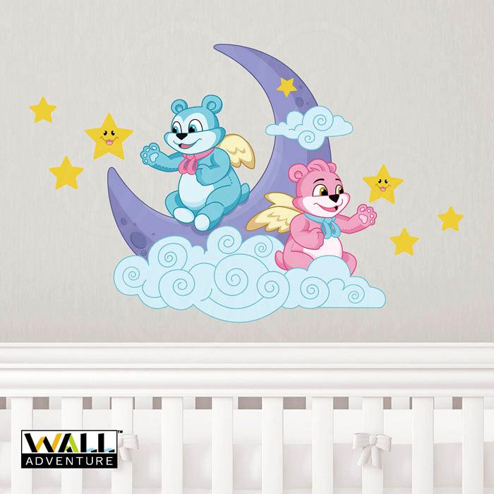 Bear, Angel, Moon, Stars, Cloud, Fabric Wall Decal