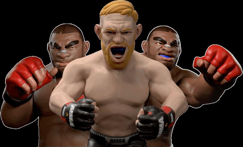 three mma fighters