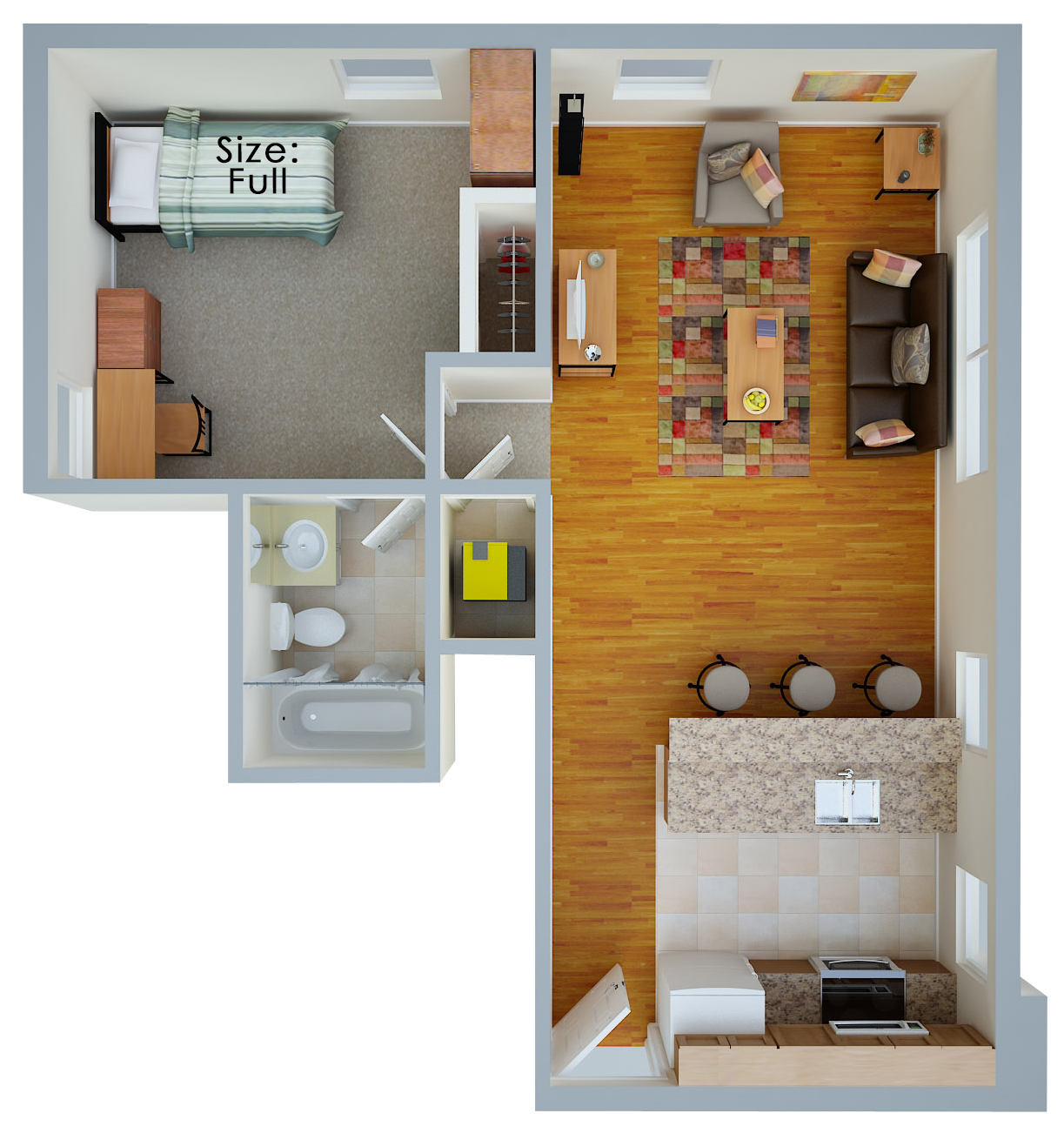 1 Bedroom Floor Plan Layout
