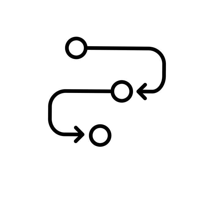 Pictogramme montrant le passage par plusieurs point avant d'atteindre un objectif