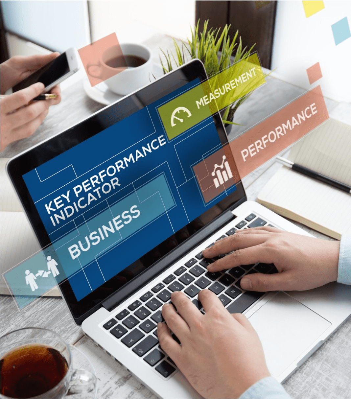 Écran ordinateur éléments suivis progrès marketing digital