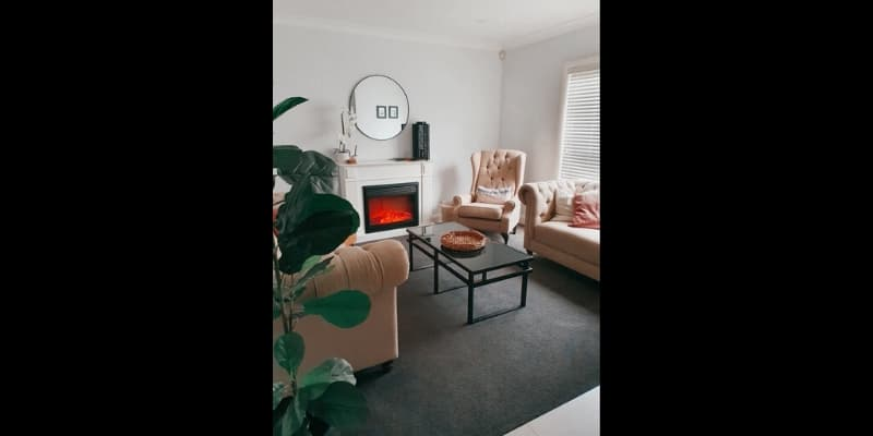 Formal living space with fireplace