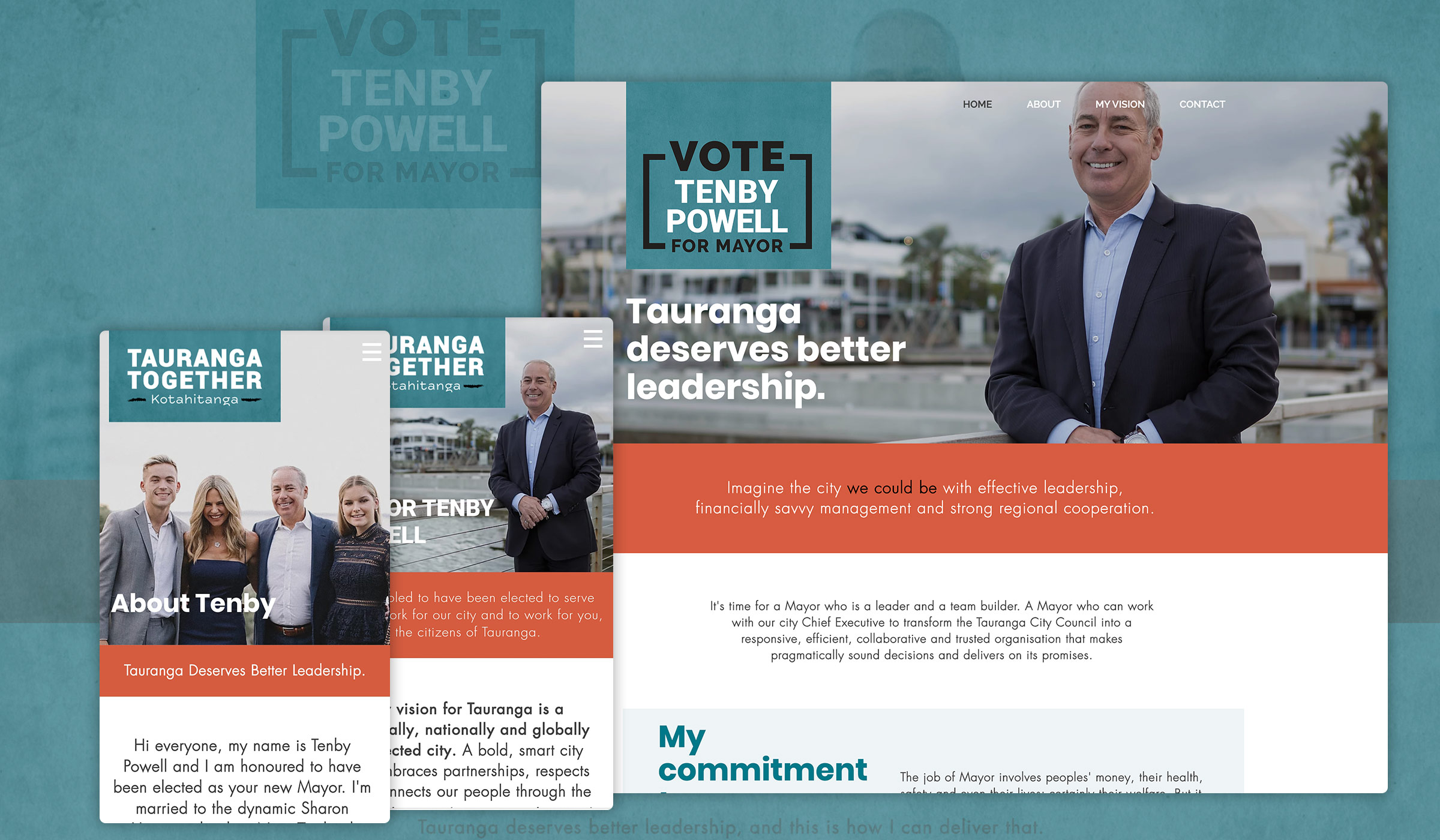 We created a fully responsive website for the campaign which with Tenby Powell we updated and expanded on. Here's how it looked.