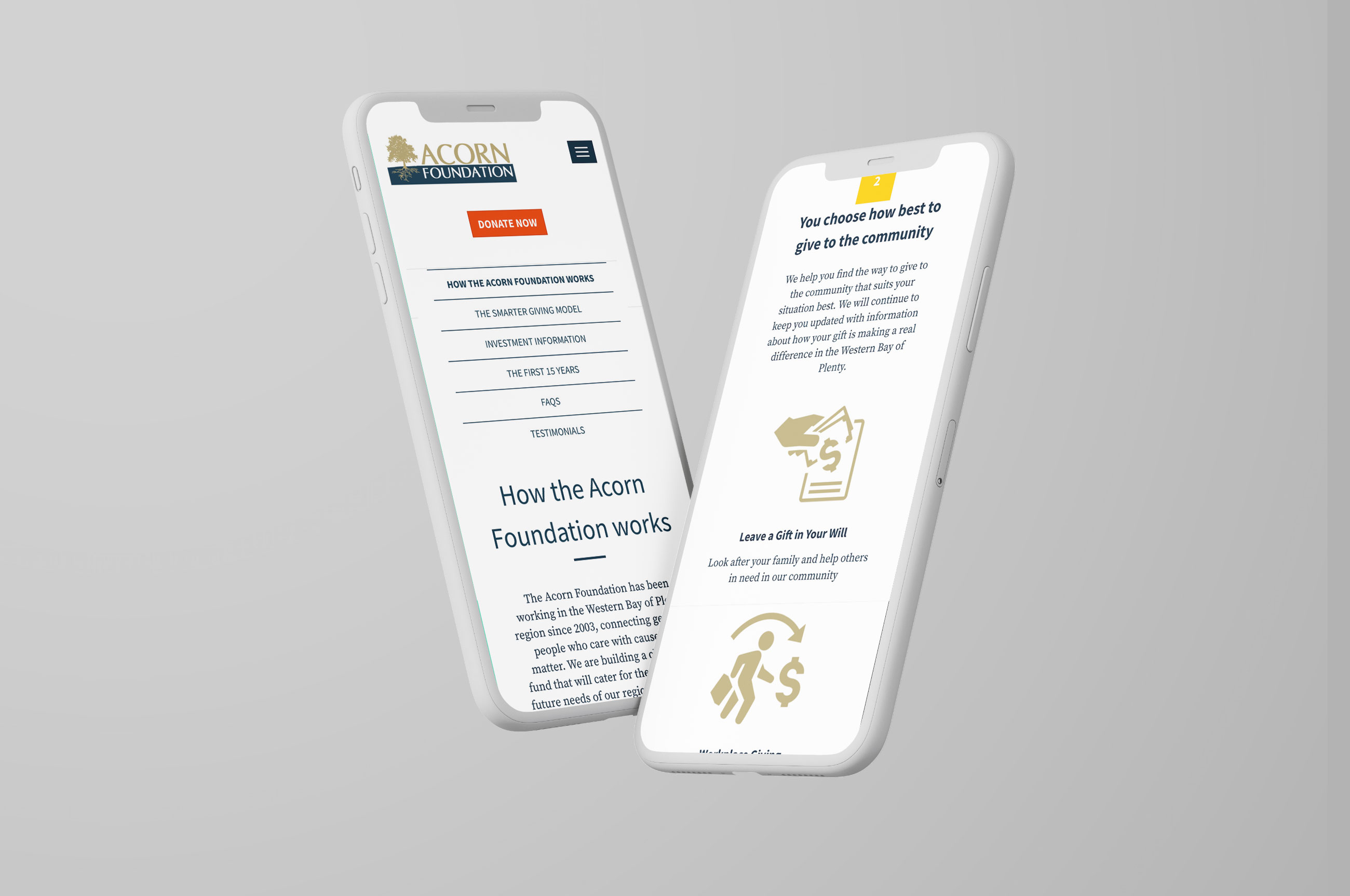 A view of the mobile website we created for Acorn Foundation