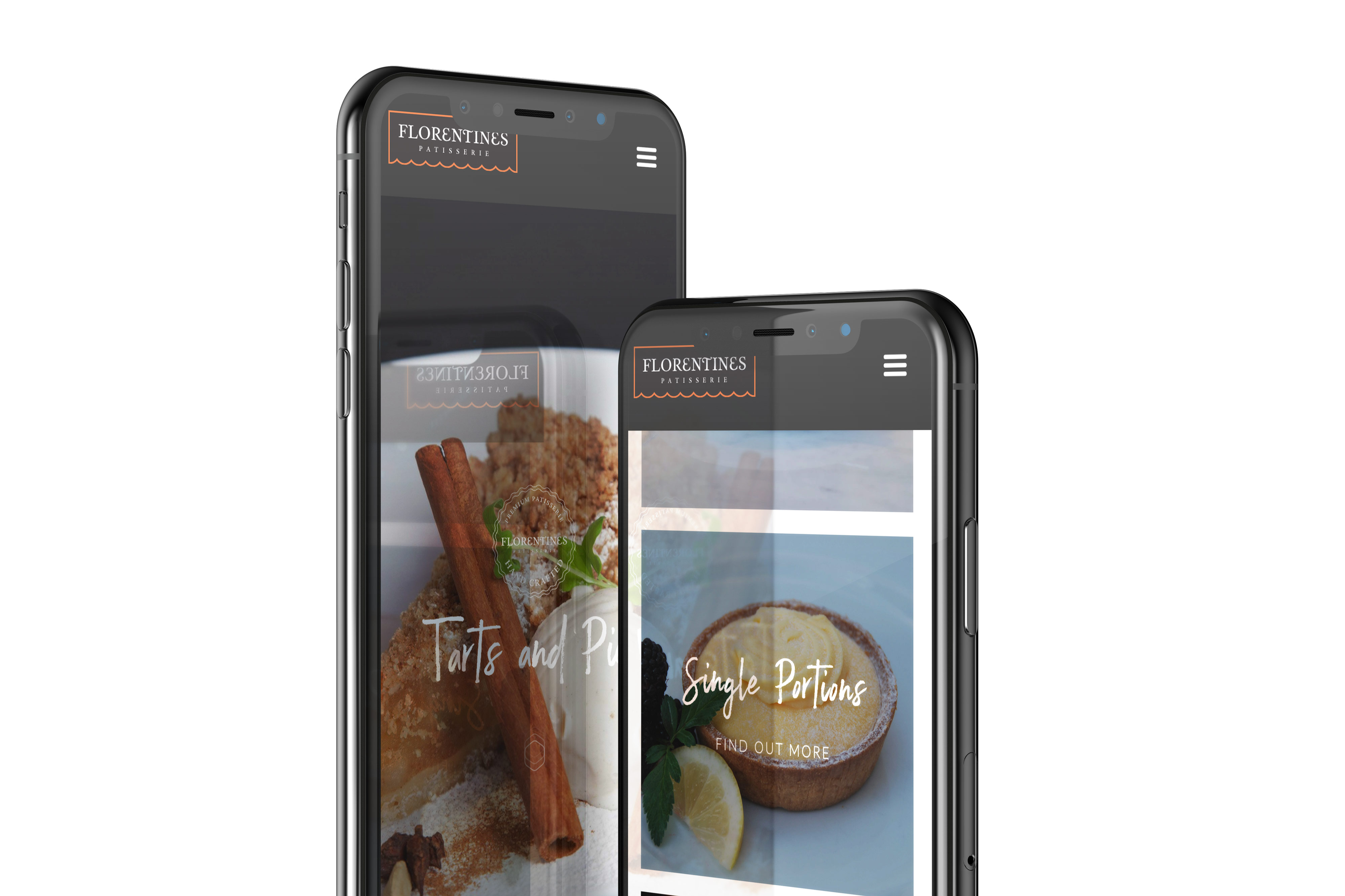 A mobile phone view of the cakes pages from the Florentines website
