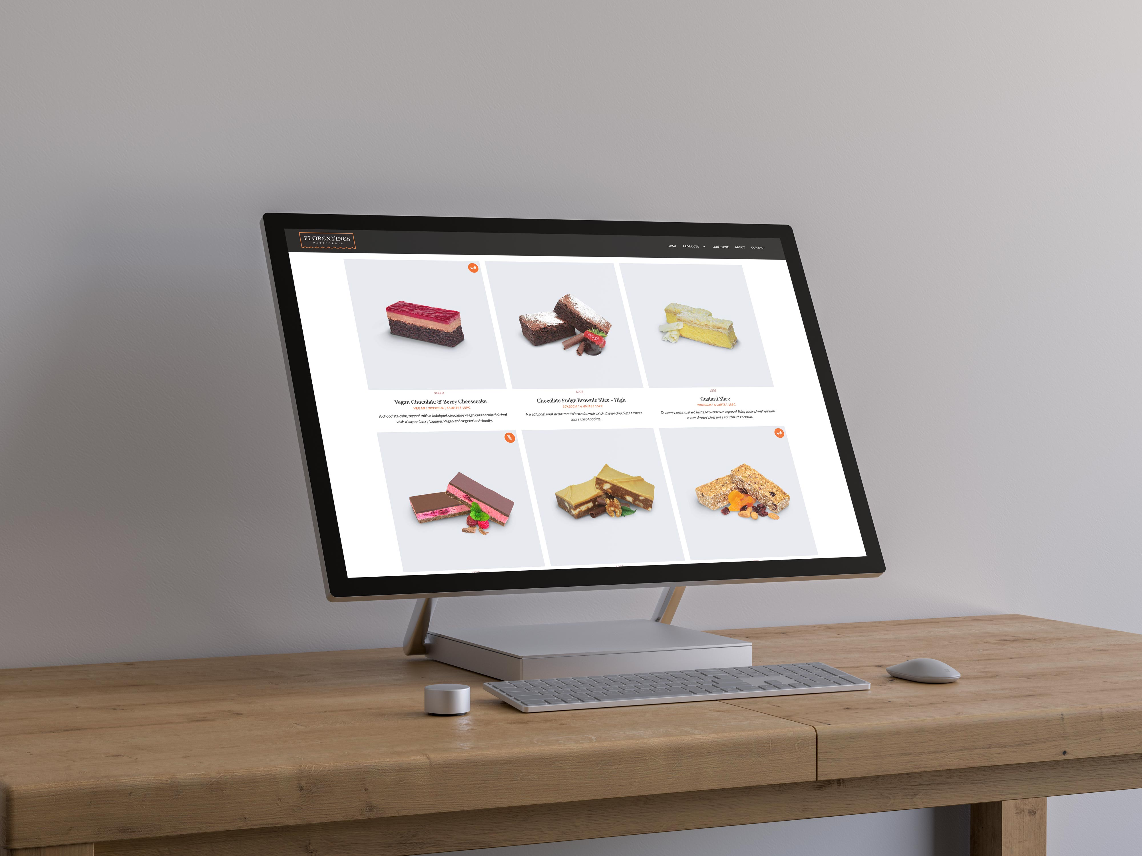 A desktop computer showing a list of patisseries from the Florentines website.