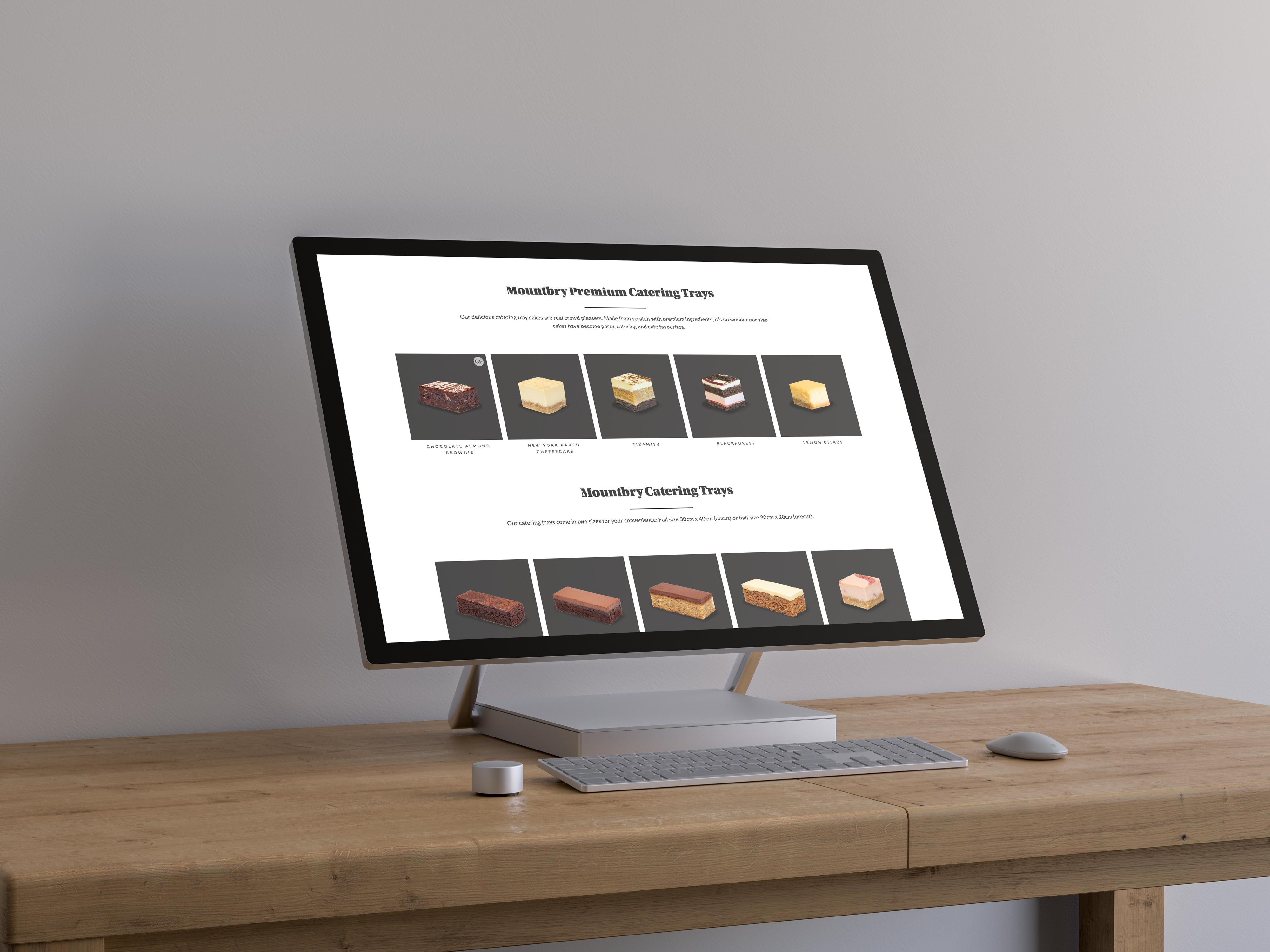 A desktop computer showing a selection of the Mountbry cake range