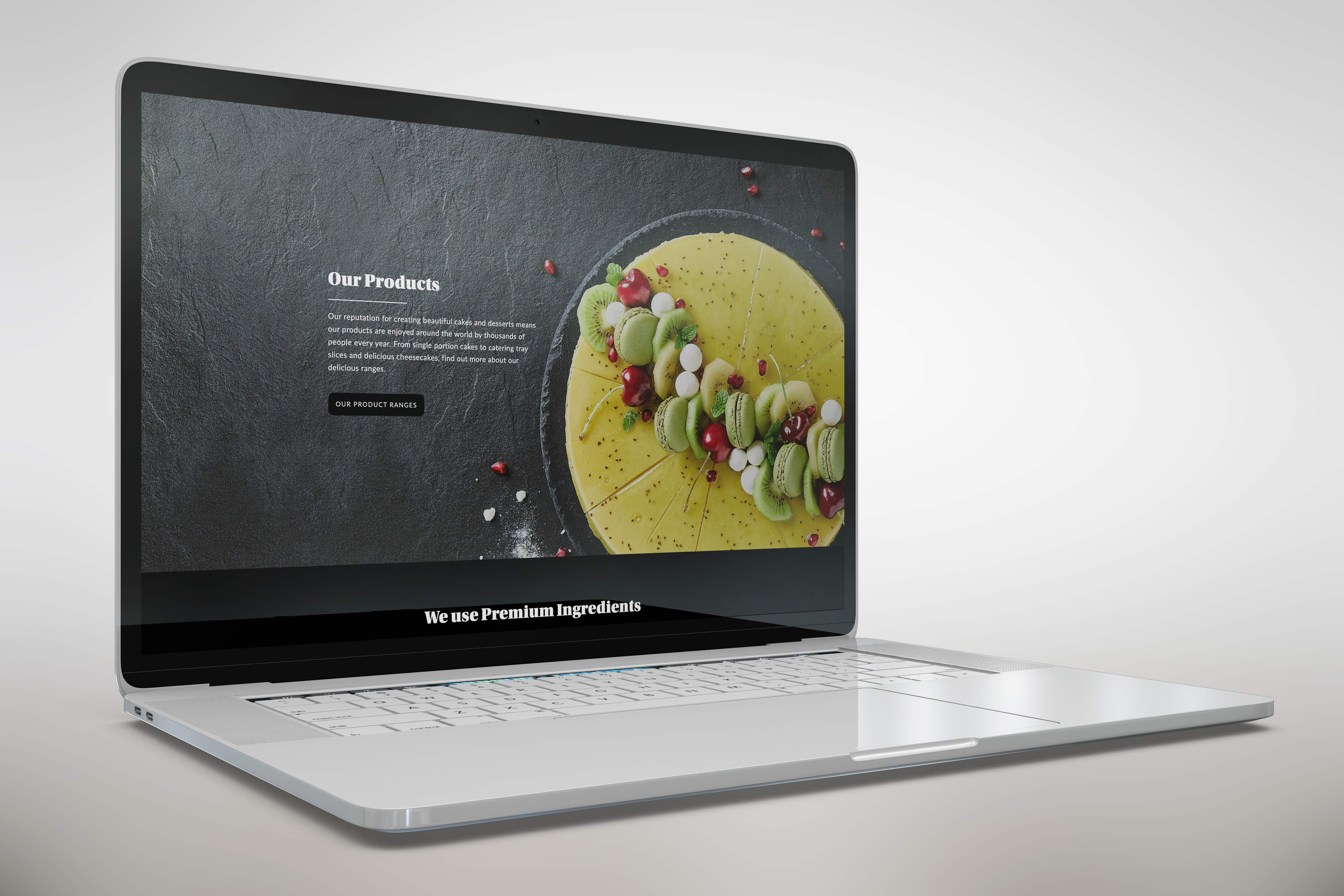 A laptop showing a link to the Mountbry product page.
