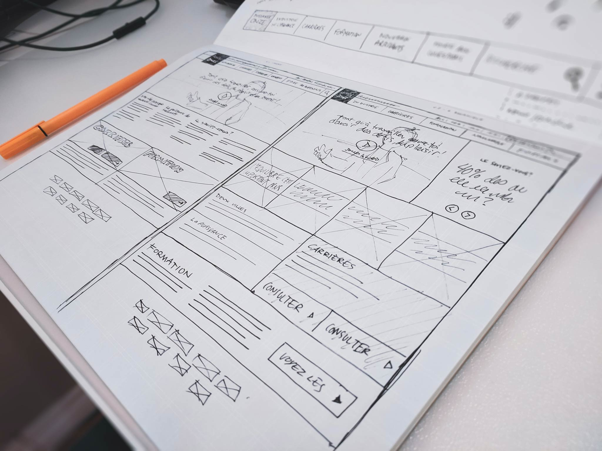 An image of a basic website wireframe
