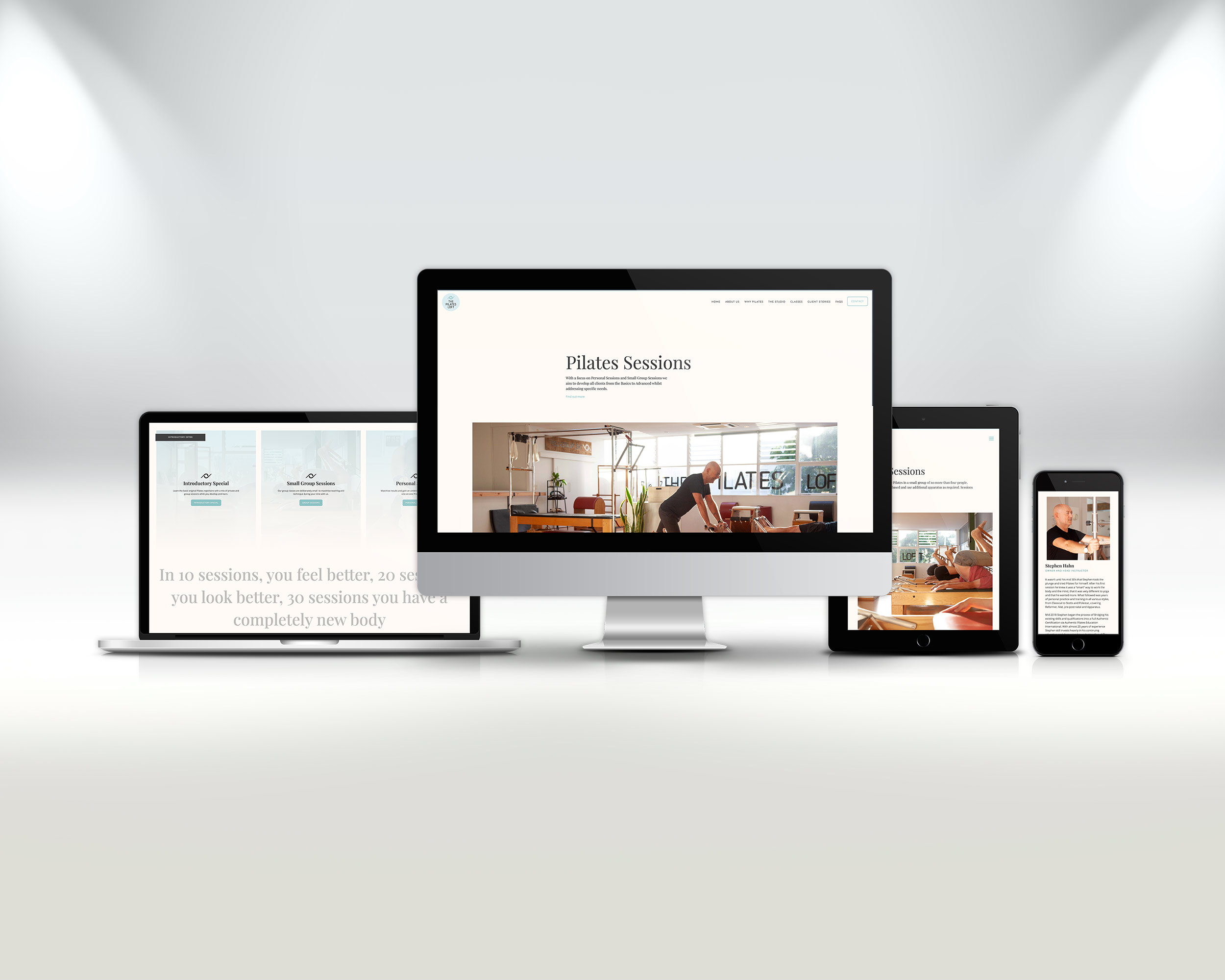 A selection of screens from the new Pilates Loft website to showcase the responsive changes