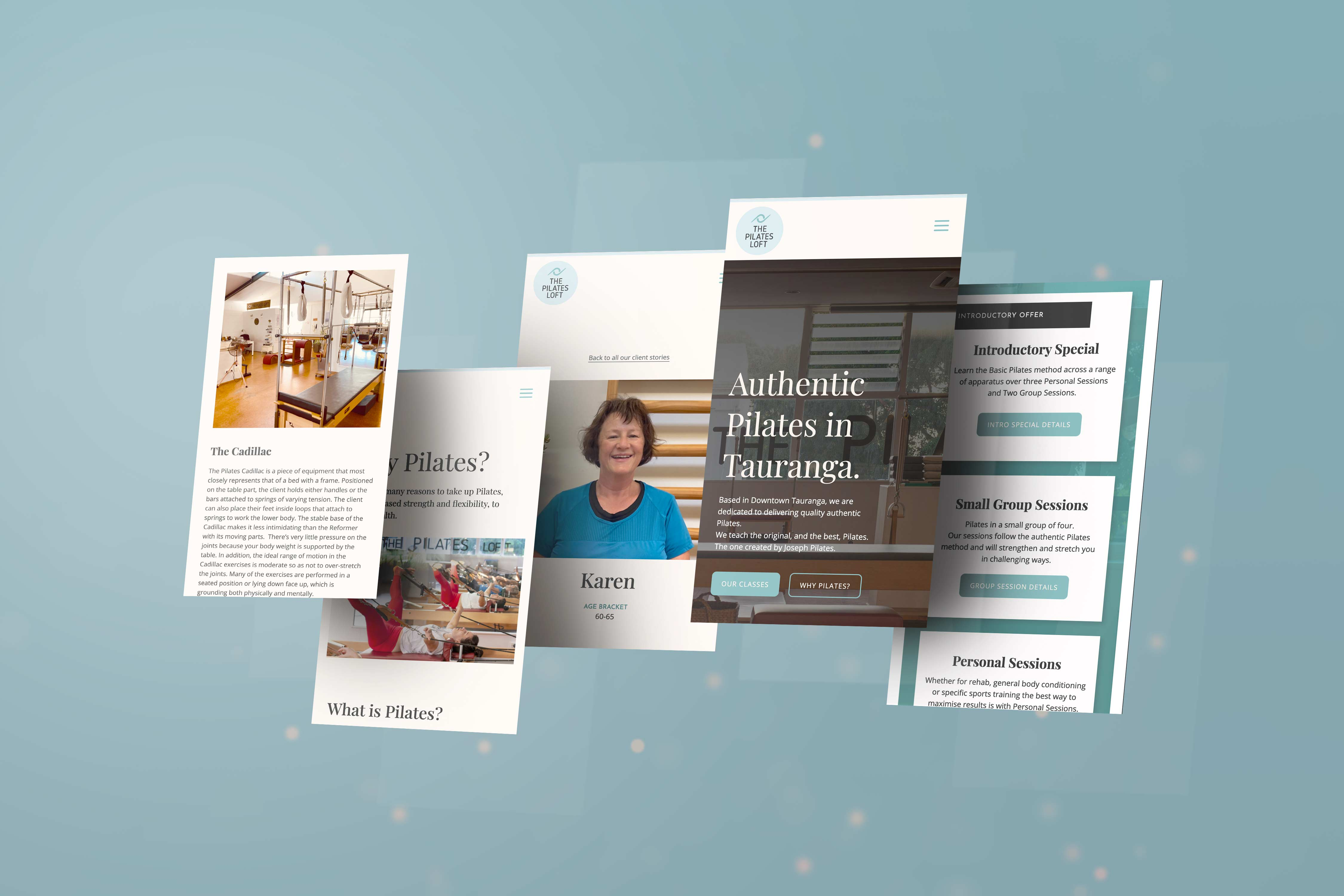 Showcasing how the new Pilates Loft website looks on mobile