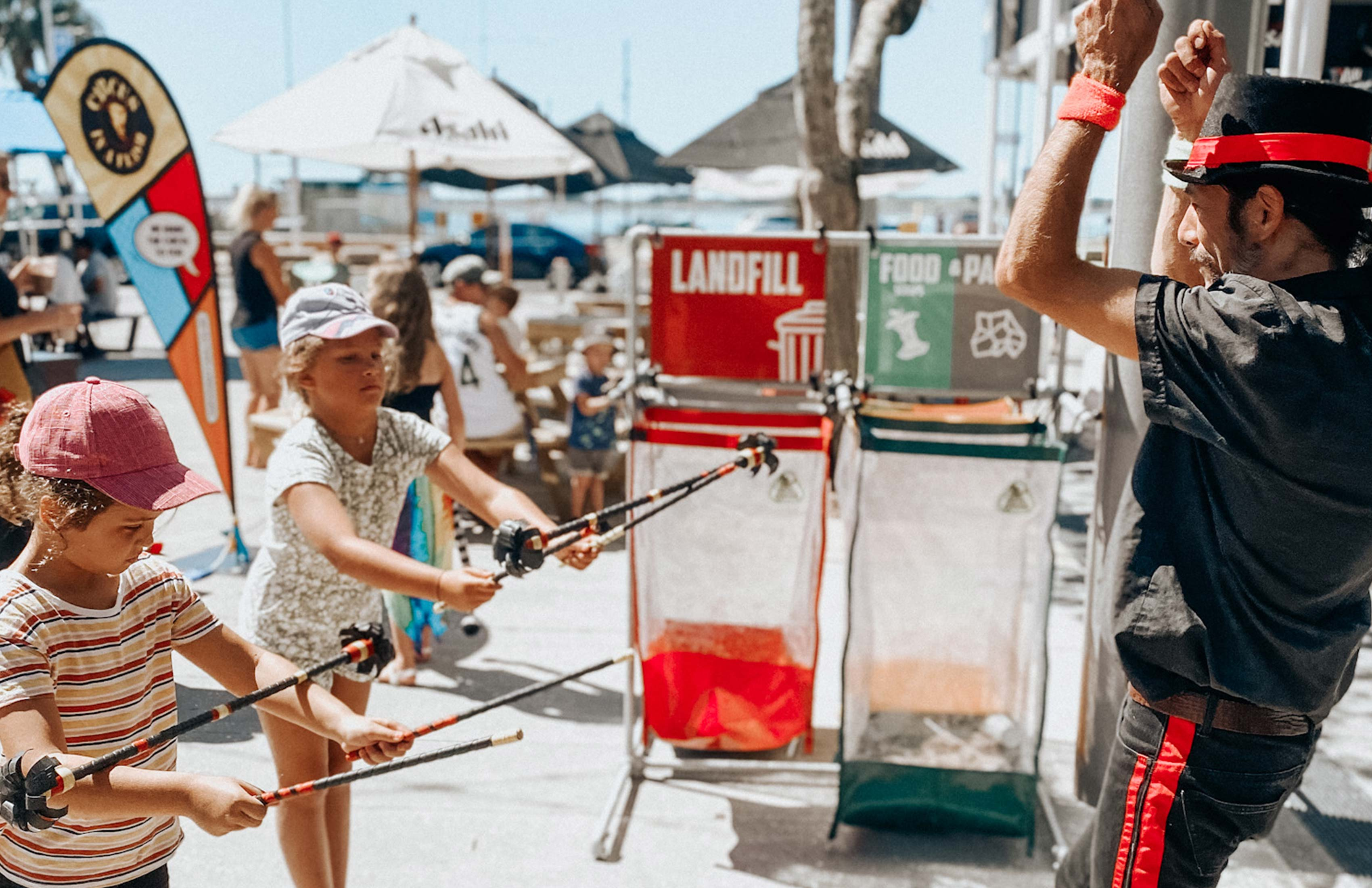Children learn circus skills on Warf Street