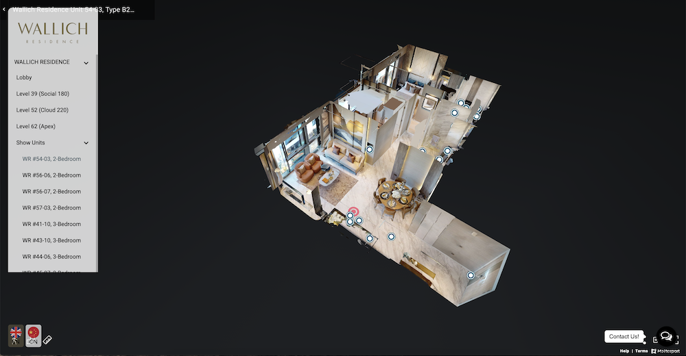 We used the advanced Matterport 3D Scanning technology to create 3D virtual tours for the various units for sale. Each of the units is converted into a 3D model which can be viewed using the 3D dollhouse button on the bottom left of the screen. You may find the various 3D virtual tours under 'Show Units' in the Navigation Menu drop-down. This allows users to switch between the 360 Virtual Tour and Matterport Tours easily.