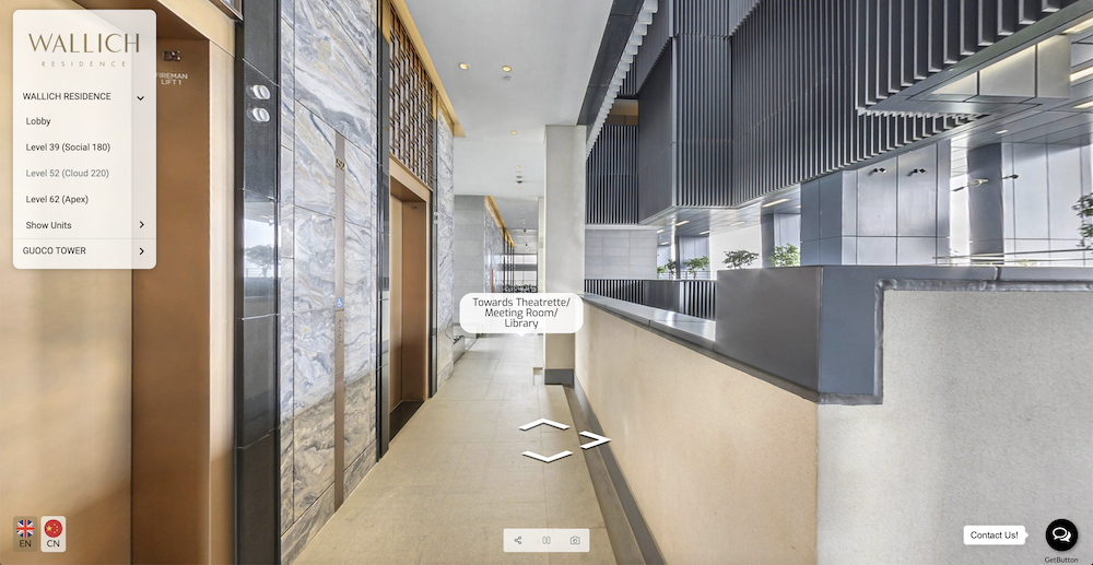 The 360 virtual tour of Wallich Residence also features labels for directions. These annotations help people know where they are moving towards and help to users to have a better sense of directions.