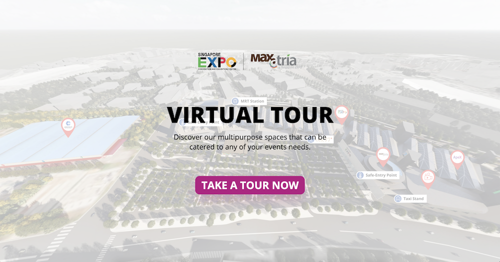 The Singapore EXPO's virtual tour landing page provides a short overview of what to expect in the virtual tour.