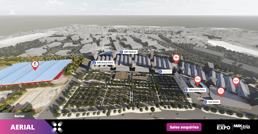 The Red Marker created an interactive 3D model of the Singapore EXPO aerial view. Clicking the different markers redirect users to related websites, jump to one convention area after another, or learn more about the entry and exit points in the property and how to get there.