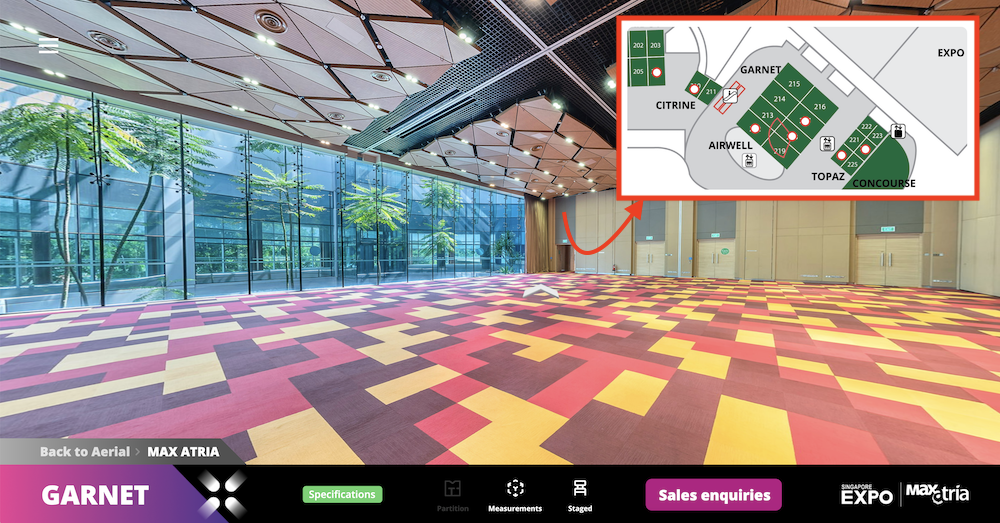 A 2D floor plan is provided on the upper right corner when going through the MAX Atria rooms. Users can jump from one location to another by pressing on red indication marks on the mini-map, allowing for easy access and quick navigation through the tour.