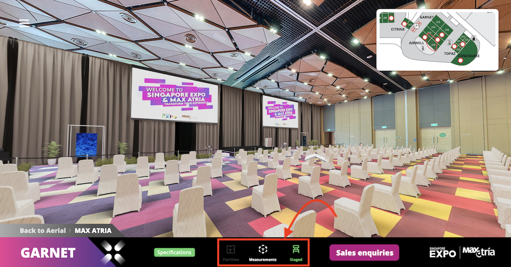 There's no need to do heavy guesswork on how large the venues are or how they look when there's an event! Buttons in the middle of the UI allow users to view the area measurements, hall partitioning, and unstaged & staged rooms.